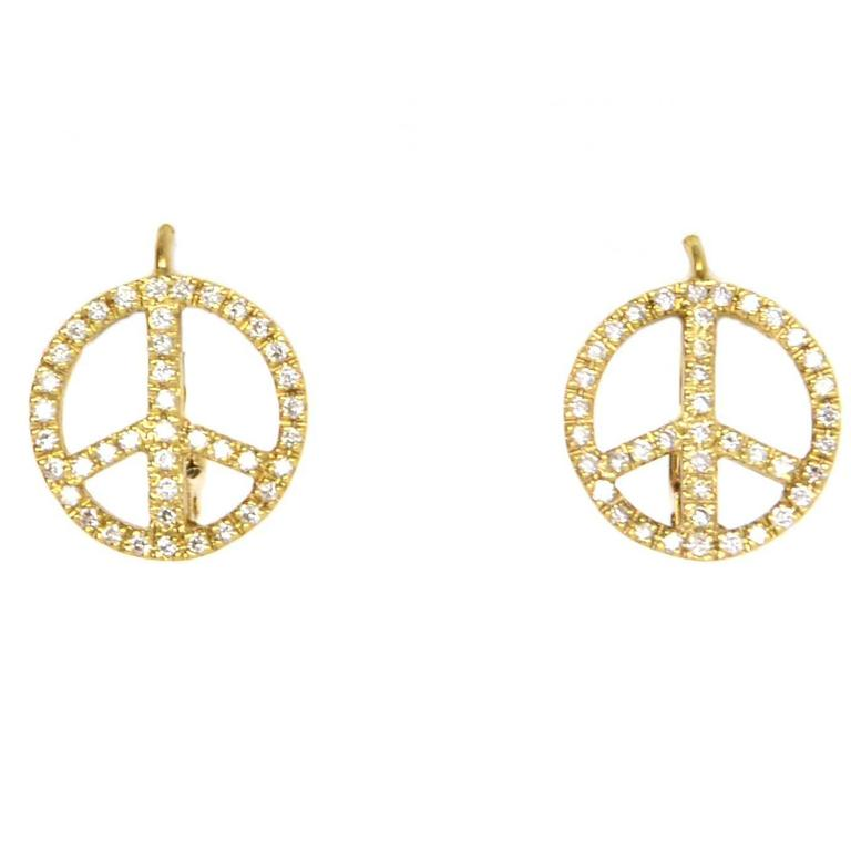 Diamond 18k Gold Peace Sign Earrings For