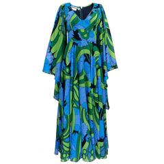 1970s Jean Varon Psychedelic Full Length Gown