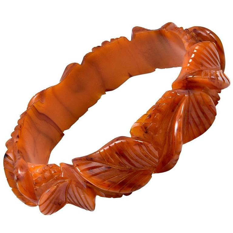 Lovely Carved Bakelite Bracelet For Sale