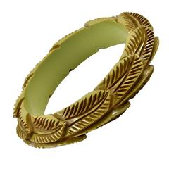 Carved Leaf Pattern Bakelite Bangle