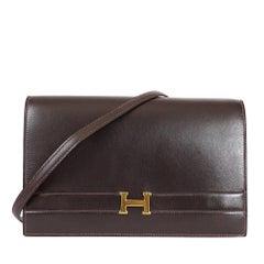 Hermes Brown Box Calf Annie 2way Shoulder Clutch Bag 1970s