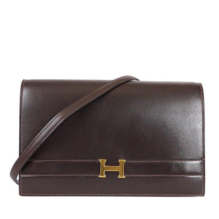 Hermes Brown Box Calf Annie 2way Shoulder Clutch Bag 1970s For Sale