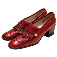 Gucci Burgundy Fringe Loafer Shoes