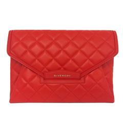 Givenchy Antigona Medium Red Diamond Quilted Lambskin Envelope Clutch