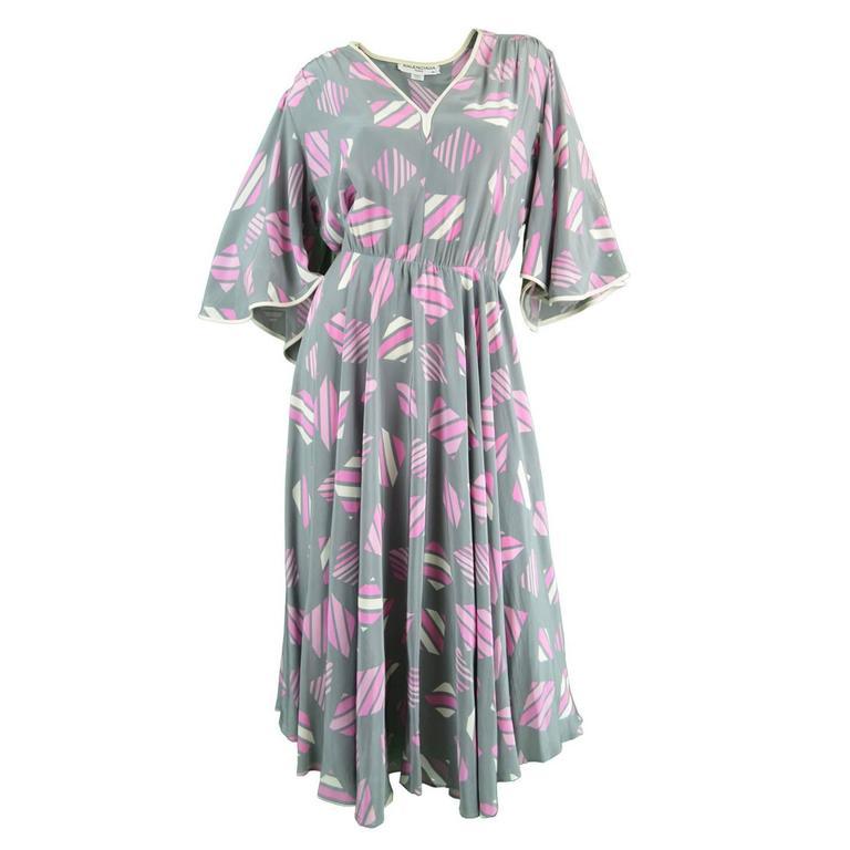 1980s Balenciaga Vintage Floaty Silk Angel Sleeve Dress