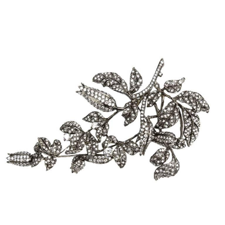 Sensational Tremblant Lily of the Valley Flower Crystal Silver Brooch Pin 1