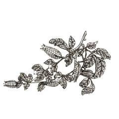 Sensational Tremblant Lily of the Valley Flower Crystal Silver Brooch Pin