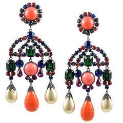 Fabulous 60s KJL Chandelier Earrings