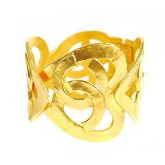 Vintage Chanel Heart Motif Gold Cuff Bracelet, Bangle