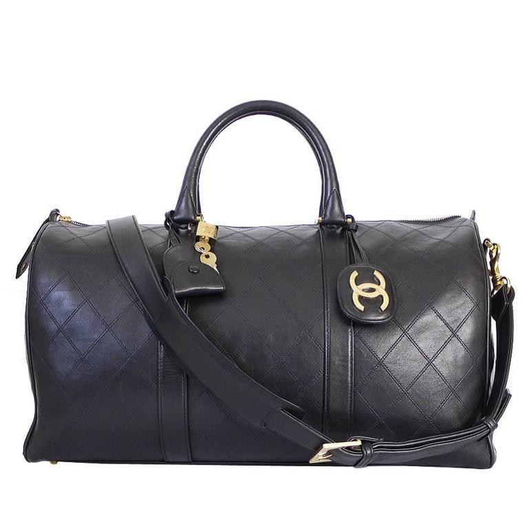 8bcc5497fa87 Vintage Chanel Black Lambskin Flat Quilt Boston Duffle Bag at 1stdibs