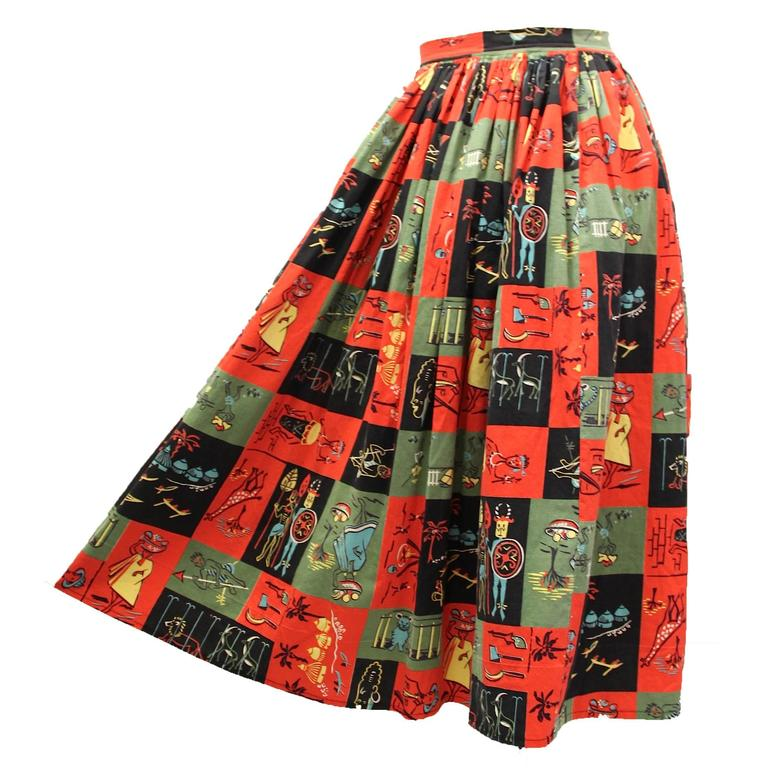 1950s Jungle Print Circle Skirt  For Sale