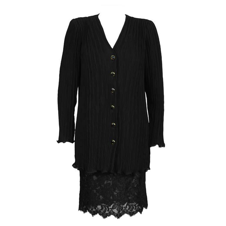 1980's Ungaro Black Fortuny Pleated Jacket With Lace Skirt