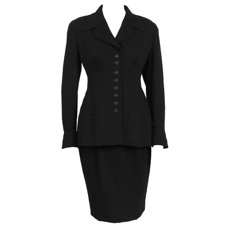 1980's Karl Lagerfeld Black Wool Suit