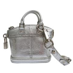 Louis Vuitton Silver Metallic Lockit Mini Handbag Keychain Bag Charm in Box