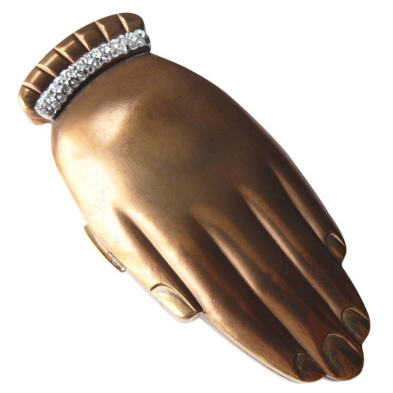"""1940s Volupte """"Golden Gesture"""" Compact w/Rhinestone Cuff"""