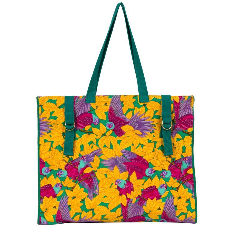 3072e309c5b4 Hermès Large Yellow Parrots Beach Bag For Sale at 1stdibs