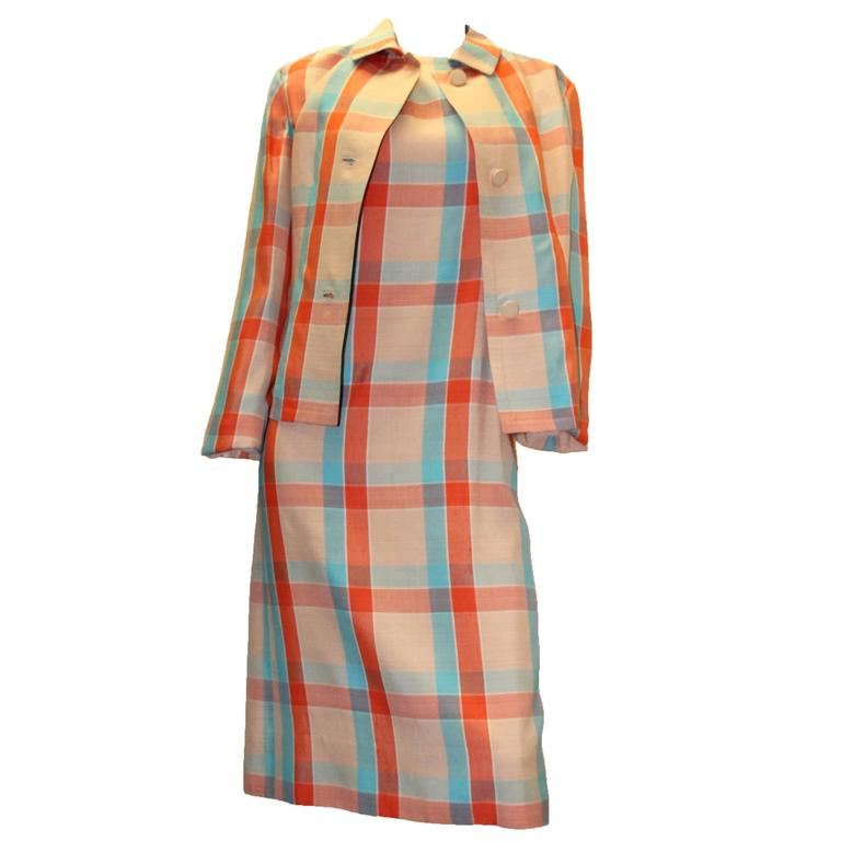 1960s Givenchy Plaid Dress Suit