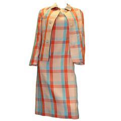 1960s Givenchy Plaid Dress Suit