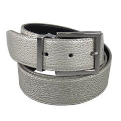 DOLCE & GABBANA Size 40 Silver Opalescent Leather Belt