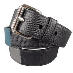 PRADA Size 40 Black Leather patchwork Belt
