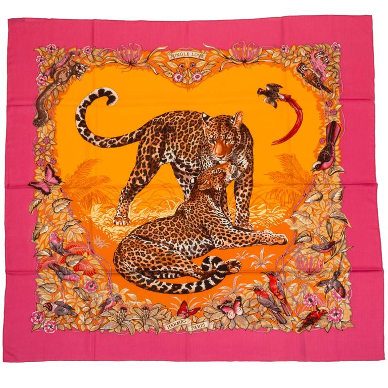 "Hermès Cashmere 55"" Pink Jungle Love Shawl For Sale"