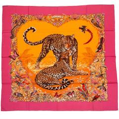 "Hermès Cashmere 55"" Pink Jungle Love Shawl"