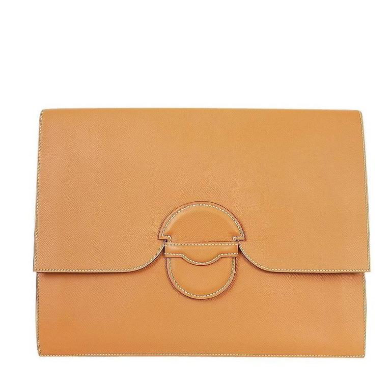 1980s Hermes Over-sized Clutch Bag Gold Vintage  For Sale