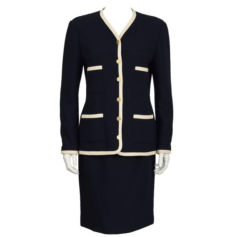 1980's Chanel Navy & Cream Skirt Suit
