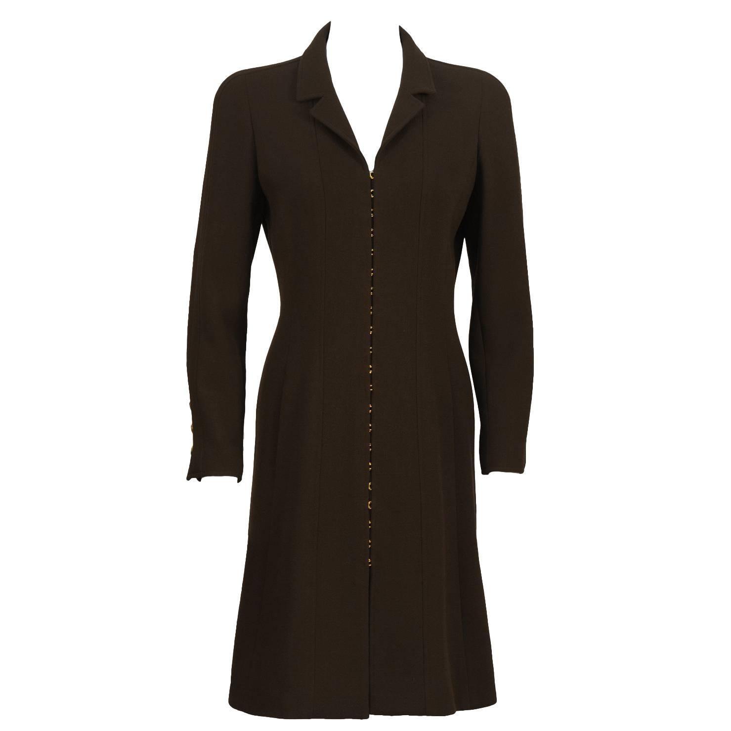 Fall 1996 Chanel Brown Wool Coat Dress