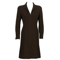 Fall 1996 Chanel Brown Wool Coat Dress