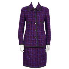 1980's Chanel Purple Plaid Boucle Skirt Suit