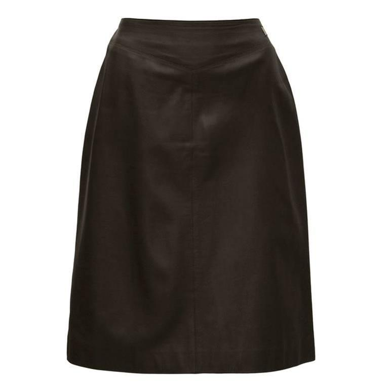 Spring 1999 Chanel Dark Brown Leather Skirt