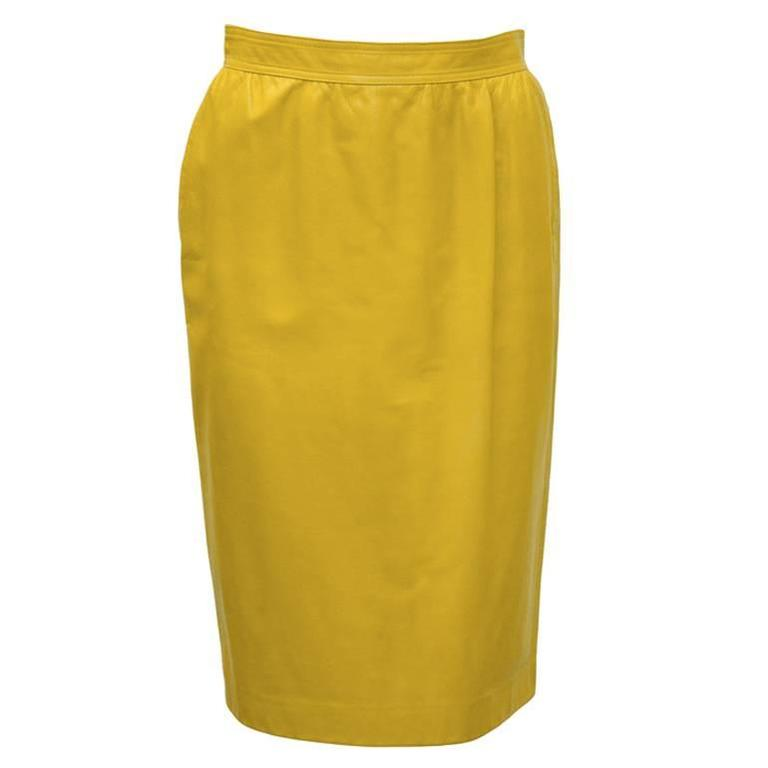 1980's Emanuel Ungaro Mustard Leather Skirt