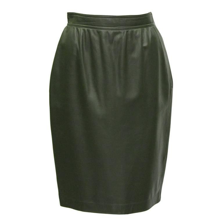 1980's Emanuel Ungaro Forest Green Leather Skirt