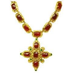 Chanel Vintage '70s-'80s Gripoix Maltese Cross Necklace