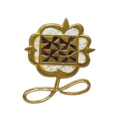 1950's Line Vautrin Gilded Bronze Wearable Art Flower Pin