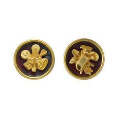 1950's Line Vautrin Gilded Bronze and Enamel Art Jewelry Earrings