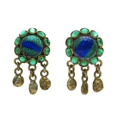 1950's Henry Perichon Blue Tigers Eye GIlt Bronze Earrings