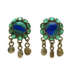 1950's Henry Perichon Blue Tigers Eye GIlt Bronze Earrings