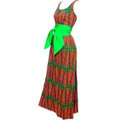 Design Thai Vintage Dress in Blue Green & Orange Cotton Tropical Print Size 6/8