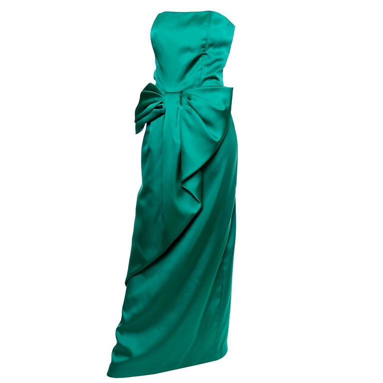 Victor Costa Vintage Dress Green Satin Strapless Evening Gown Dress w/ Bow For Sale