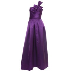 Vintage Purple Dress by Victoria Royal Satin Evening Gown One Shoulder I Magnin