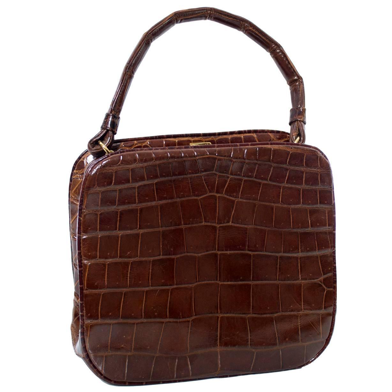Koret Vintage Genuine Alligator Handbag Coin Purse Mirror 1950s For At 1stdibs