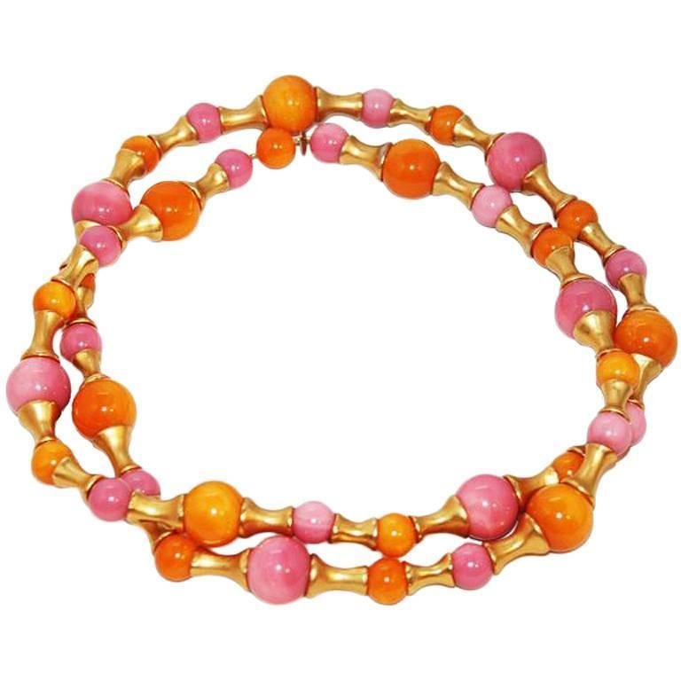 Gorgeous Collectable Chanel Pink & Orange Necklace 1993 For Sale