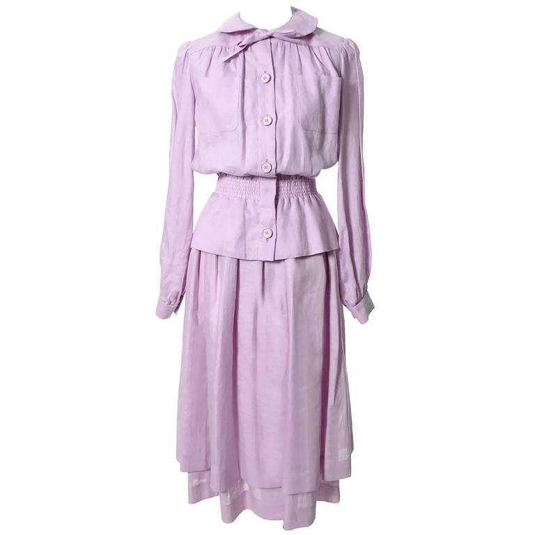 1970s Vintage Valentino 2 pc Linen Dress Purple Made in France