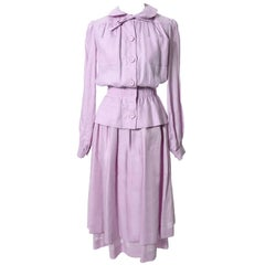 Vintage Valentino 2 Piece Lavender Purple Linen Dress and Skirt Made in France