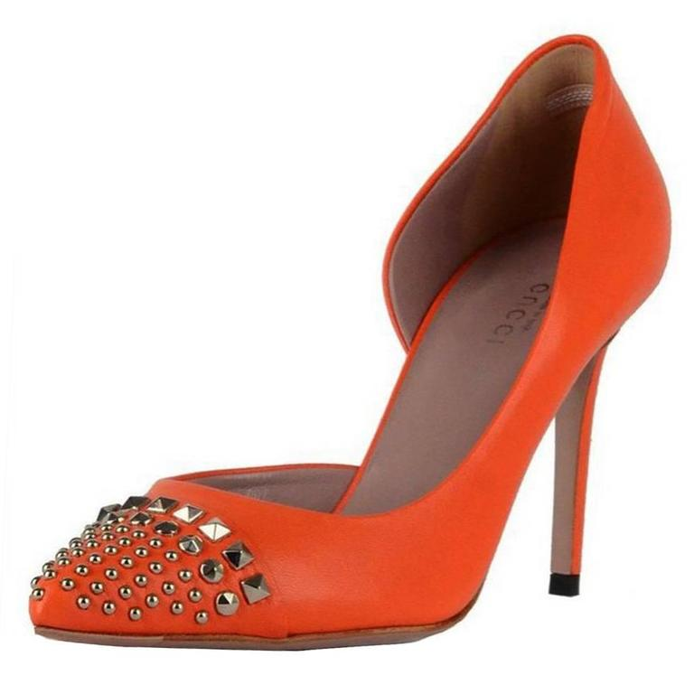 081f078d7e1 New Gucci D orsay Orange Leather Studded Shoes Pumps It.36 - US 6 at ...