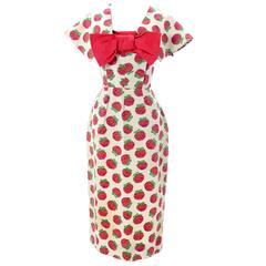 1950s Christian Dior Vintage Dress Red Roses Capelet