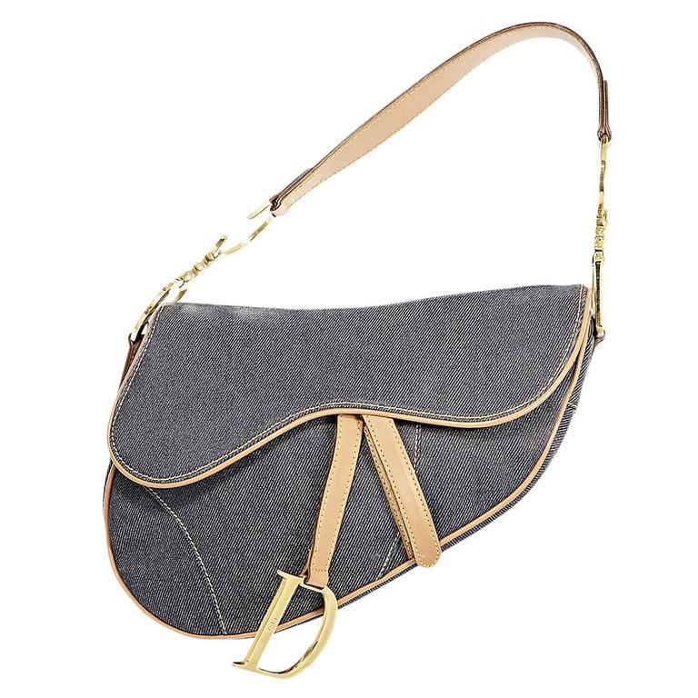 2eb2c5b0cedf Blue Christian Dior Denim Saddle Bag at 1stdibs