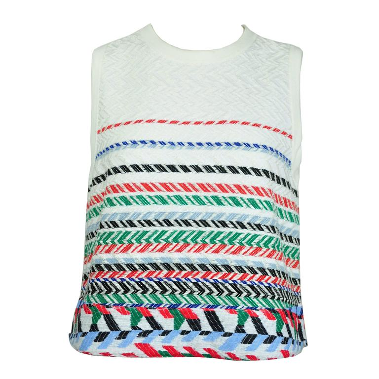 Chanel 2016 Airline Collection Sleeveless White & Multi-color Top FR40 New 1